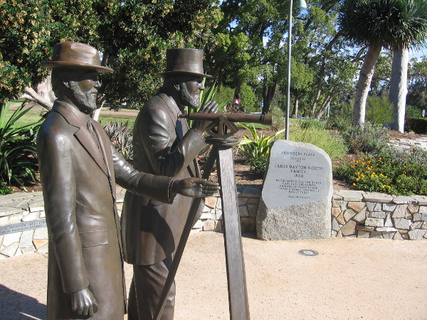 Lifelike sculptures of Ephraim Morse and Alonzo Horton in Founder's Plaza.