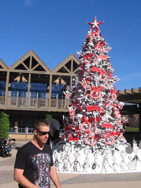 Dr. Seuss Christmas tree at the Conrad Prebys Theatre Center.