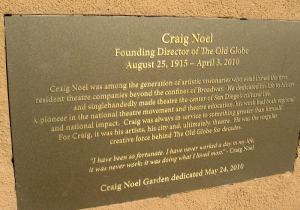 Plaque explains how Craig Noel helped to found the Old Globe Theatre.