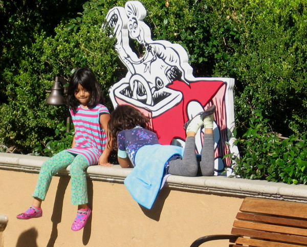 Kids love the Dr. Seuss displays all around the Old Globe plaza area.