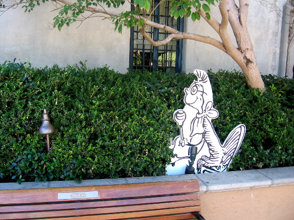 Another Who from Whoville near bench in the Craig Noel Garden.