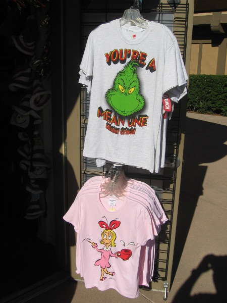 Fun Grinch shirts for sale at the very cool Old Globe gift shop.