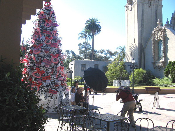 Family gets a festive holiday photograph by the Seuss tree in Balboa Park.