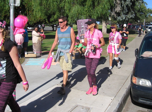 Participants in Susan G. Komen three day walk fighting breast cancer.