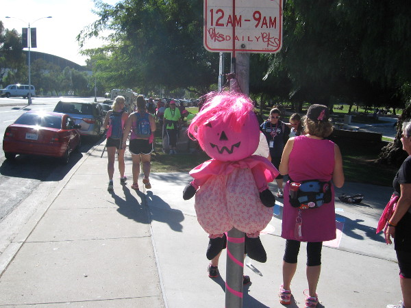 Lots of fun pink stuff greeted the walkers along the sidewalk.