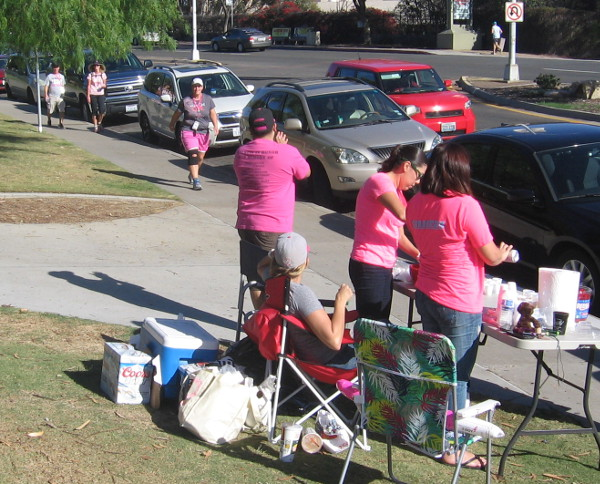 Hydration station awaits some oncoming anti-breast cancer walkers.