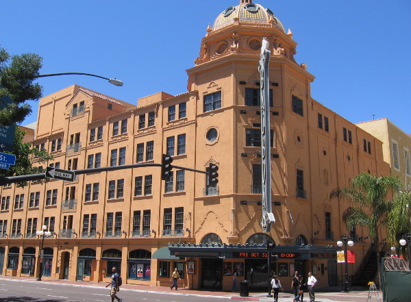 The Balboa Theatre stands adjacent to downtown's equally famous Horton Plaza.