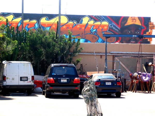 Mr. Padre mural along rooftop honors Tony Gwynn. Art by Wildstyle Technicians.