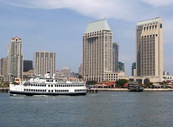 Lord Hornblower passes Hyatt hotel buildings on San Diego Bay.