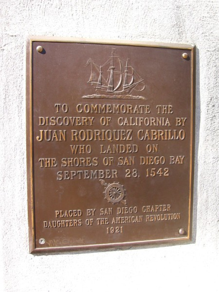 Plaque by Museum of Man commemorates Cabrillo's discovery of California.