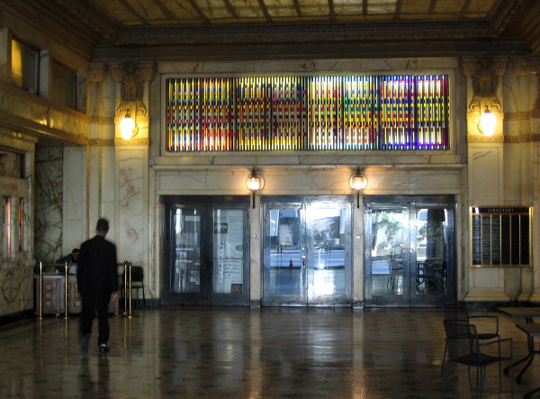 The polished marble lobby of the Spreckels Theater Building.