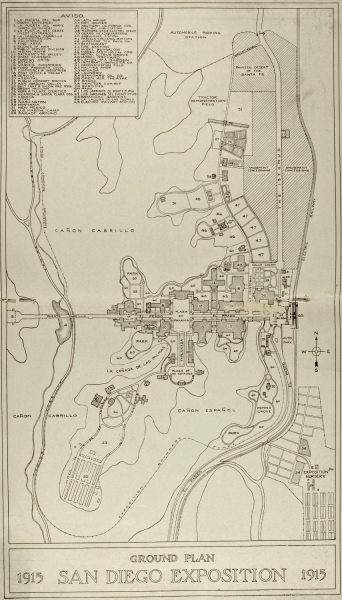 Detailed 1915 map shows Panama-California Exposition ground plan in Balboa Park (originally named City Park).