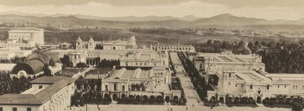 Photo taken of Balboa Park in 1915 from the California Tower provides panoramic view of many exposition buildings designed in the Spanish Colonial Revival architectural style.