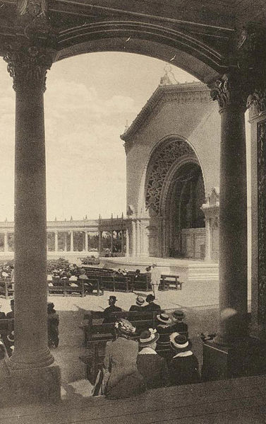 View of Spreckels Organ in 1915, from a shady spot in the colonnade. Those wooden benches were replaced many years ago with benches made of steel.