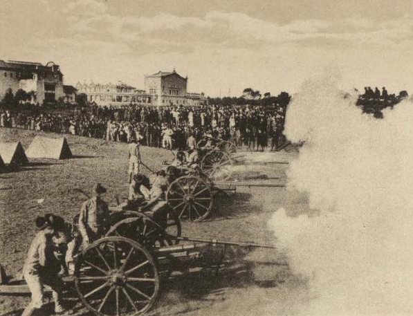 Artillery practice at the exposition's U.S. Marine Camp, which was located near the site of today's Air and Space Museum.