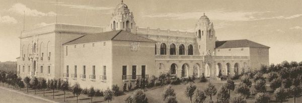 Southern California Counties Building, which stood a century ago in Balboa Park at the site of today's Natural History Museum.