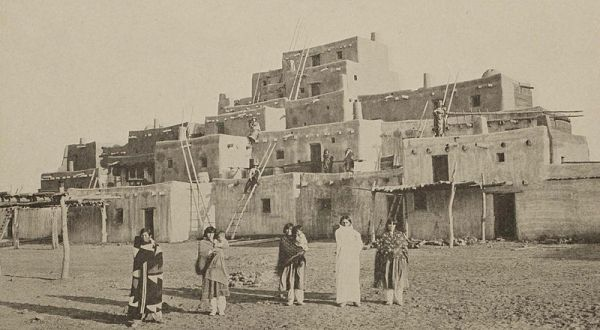 The elaborate Taos pueblo in the Painted Desert was a fantastic sight at San Diego's Panama-California Exposition.