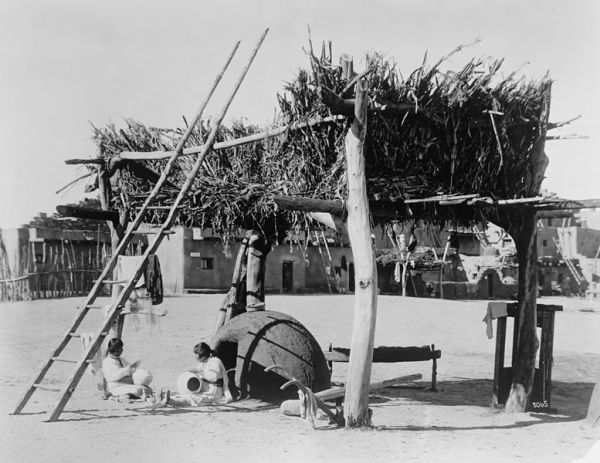 Realistic exhibit shows Zuni native life at the Panama-California Exposition in San Diego's Balboa Park.