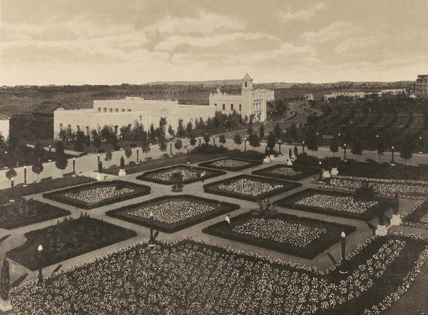Citrus and other gardens in a wide north section of the Panama-California Exposition. This is near the entrance of today's San Diego Zoo.