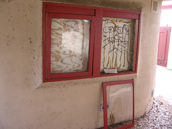 Display glass near entrance which used to show upcoming productions is vacant.