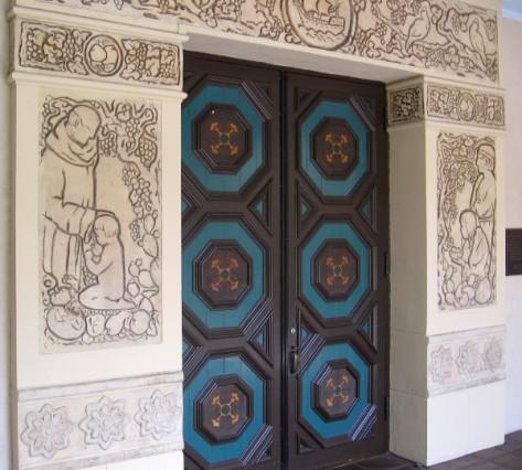 Decorative doors to La Granada Ballroom at the House of Hospitality in Balboa Park.