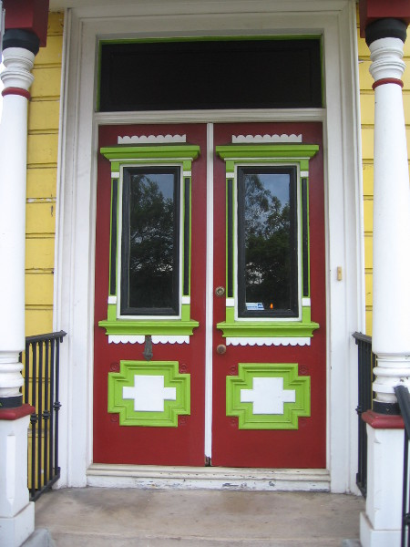 Colorful front door to a small residence in San Diego's Little Italy.