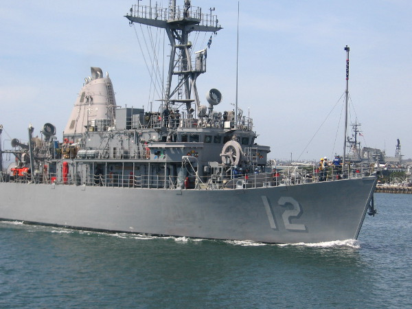 USS Ardent (MCM-12) mine countermeasures Navy ship cruises along the bay.