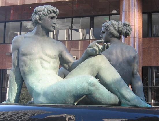 Bronze nudes of Sergio Benvenuti's Fountain of Two Oceans.