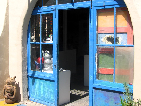 Artist studio door is wide open and welcoming in Balboa Park's colorful Spanish Village.