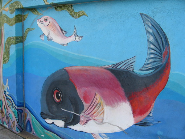 This big fish seems to be watching for pedestrians on the Barrio Logan sidewalk.