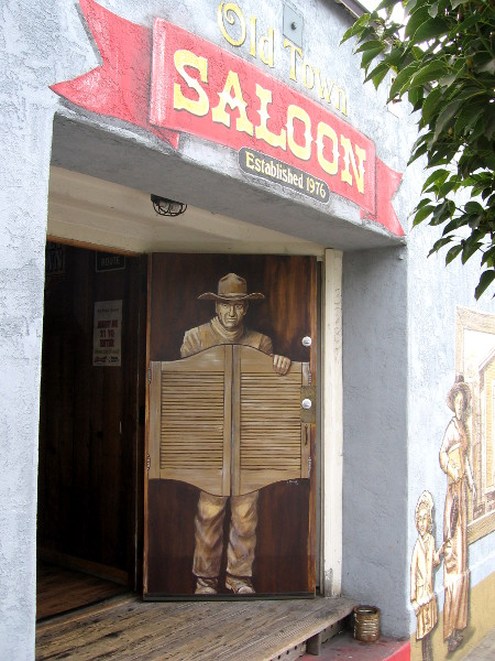 Is that a swinging saloon door in Old Town, or a painted version on an ordinary door?