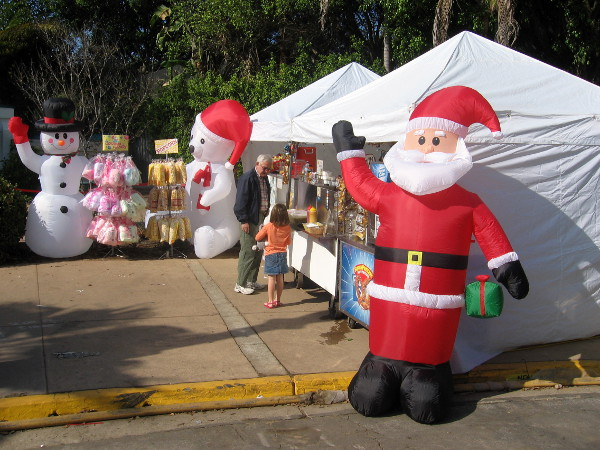 Santa, Frosty and joyful San Diegans at December Nights in Balboa Park.