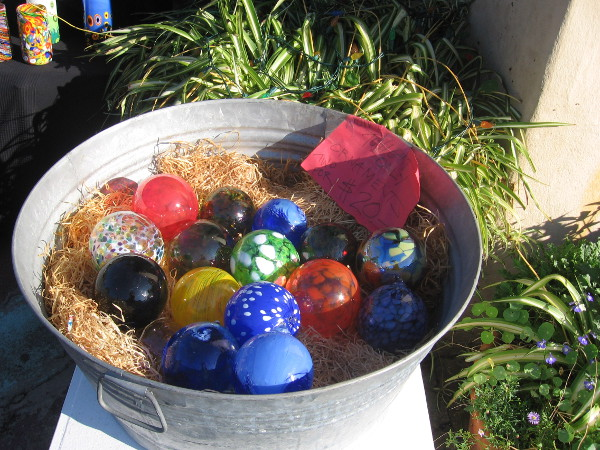 These handmade blown glass ornaments were out on display.