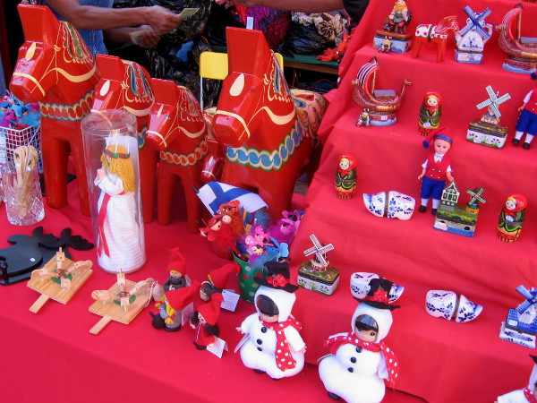 A table full of unique Christmas stocking stuffers.