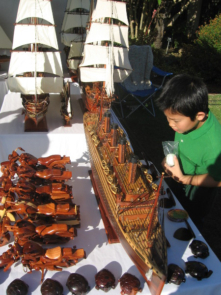 One table had cool model ships! I know what this kid wants for Christmas!