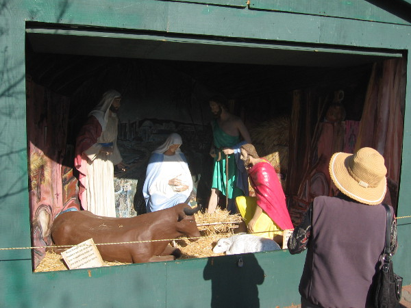 Manger scene in one of the huts along back of Spreckels Organ Pavilion.