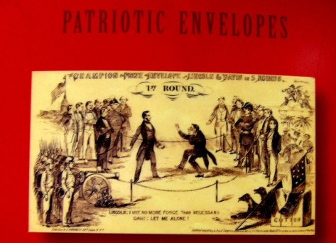 Old envelope depicts a boxing match between Lincoln and Jefferson Davis.