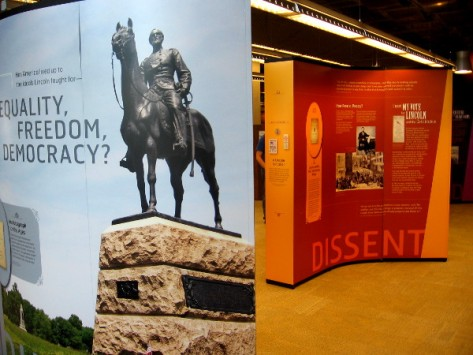 Traveling library exhibit asks about the state of equality, freedom and democracy today.