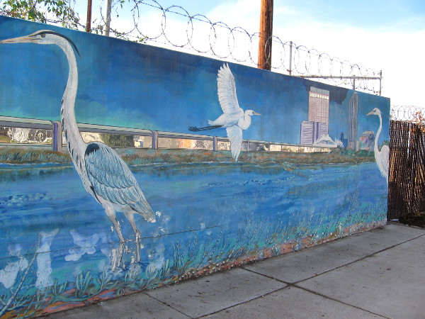 Herons and an estuary in mural on Harbor Drive north of Cesar Chavez Parkway