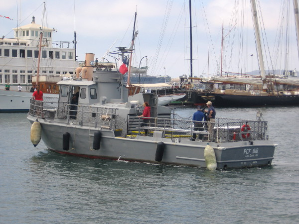 Maritime Museum of San Diego's Swift Boat, PCF-816, returns from a harbor cruise.