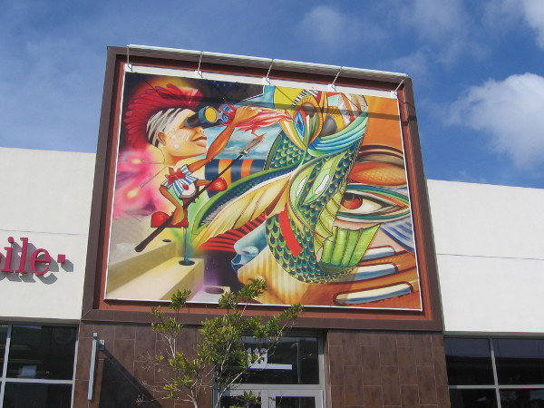Eye-catching artwork adds color to a new shopping center.