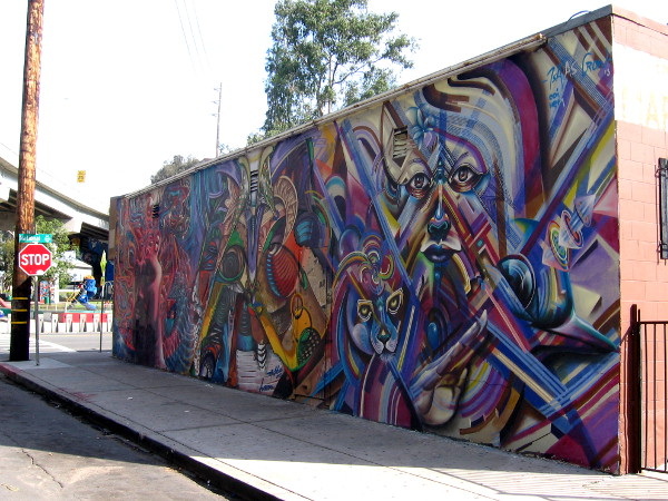 This dazzling urban art is directly across the street from world-famous Chicano Park.
