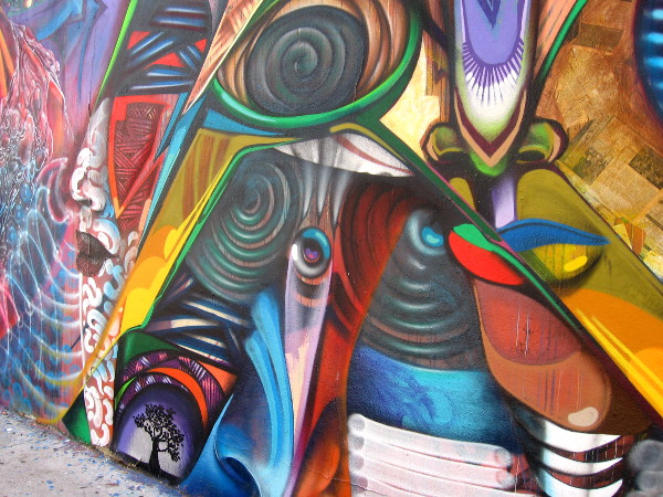 Close look at one portion of the Ancestors mural in Barrio Logan.