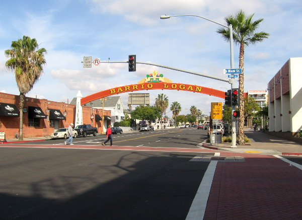 View of the gateway sign as one approaches from the Barrio Logan trolley station.