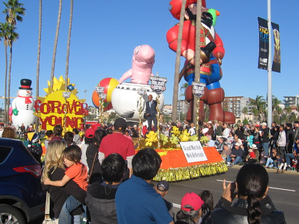 Meb awaits start of Big Bay Balloon Parade on the Forever Young float.