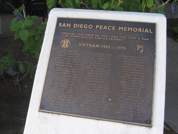 Names of San Diegans who lost their lives fighting the Vietnam War, 1965-1975.