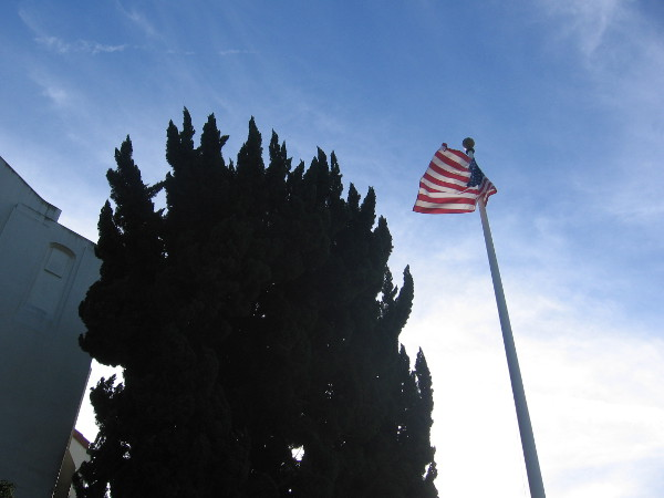 Flag flies above Veterans Museum, formerly the San Diego Naval Hospital Chapel.