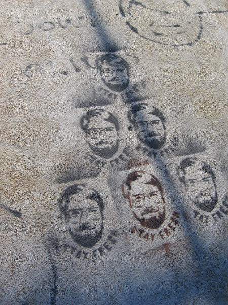 Stenciled images of bearded face. Stay fresh.
