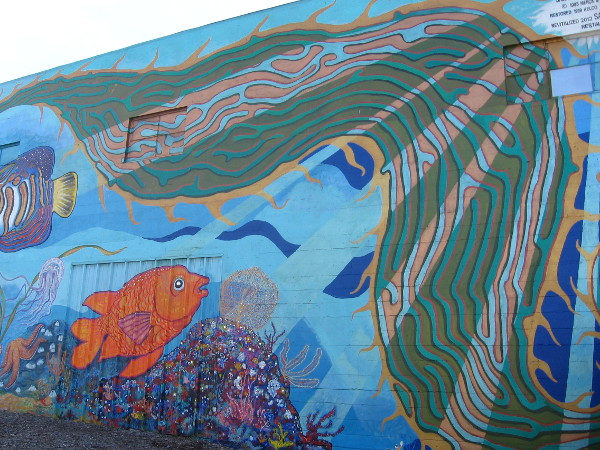 Kelp frames the end of this long, amazing mural in Barrio Logan.