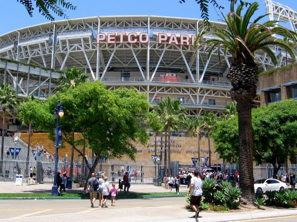 Padres fans walk from Harbor Drive bridge to Petco Park.